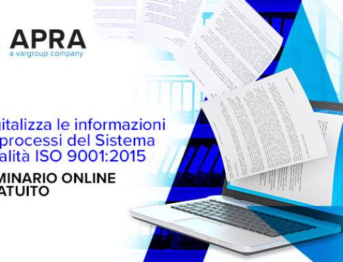 Webinar Digitalizza le informazioni e i processi del Sistema Qualità ISO 9001:2015